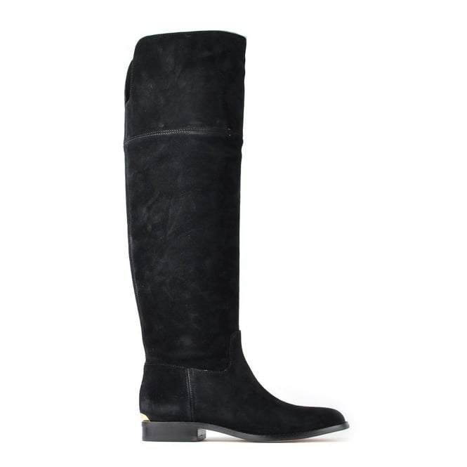 MICHAEL by Michael Kors Regina Black Suede Knee High Flat Boot