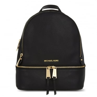 Rhea Black Leather Medium Backpack