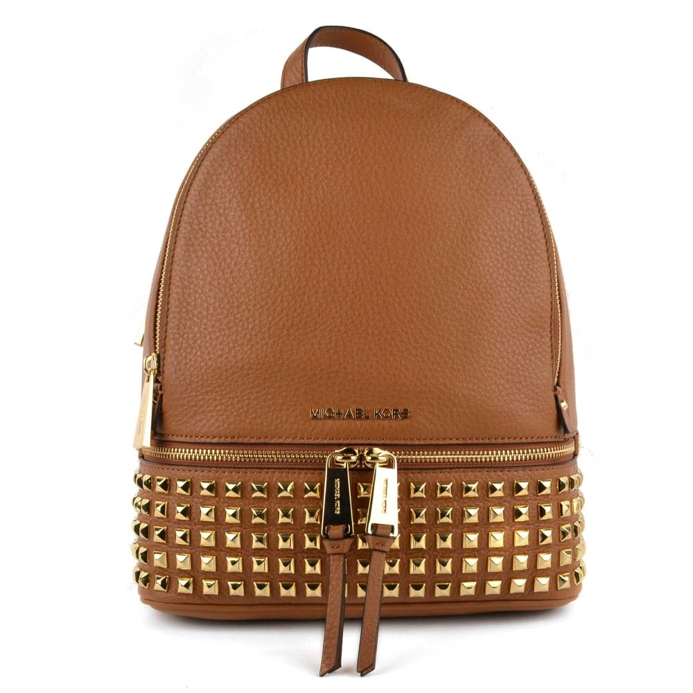 MICHAEL by Michael Kors Rhea Zip Acorn Gold Studded Medium Backpack 315ab53569d