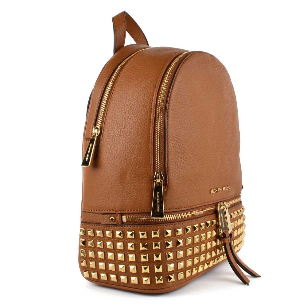 351907bd119f27 MICHAEL by Michael Kors Rhea Zip Acorn Gold Studded Medium Backpack