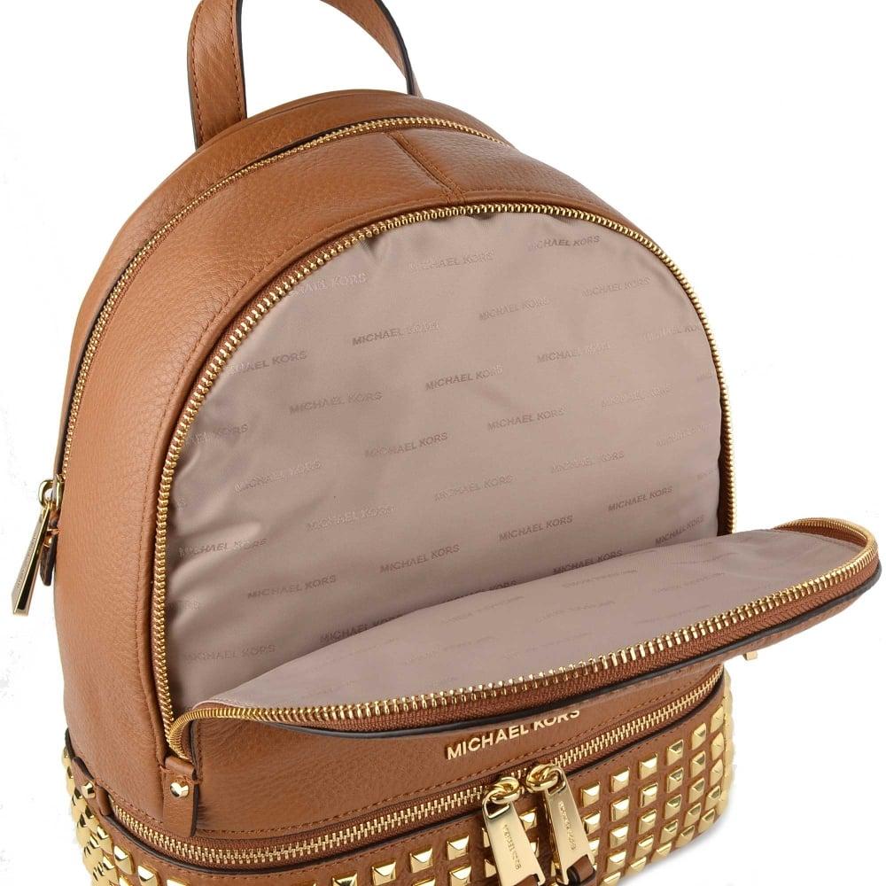 43e7673b1e7d6f MICHAEL MICHAEL KORS Rhea Zip Acorn Gold Studded Medium Backpack