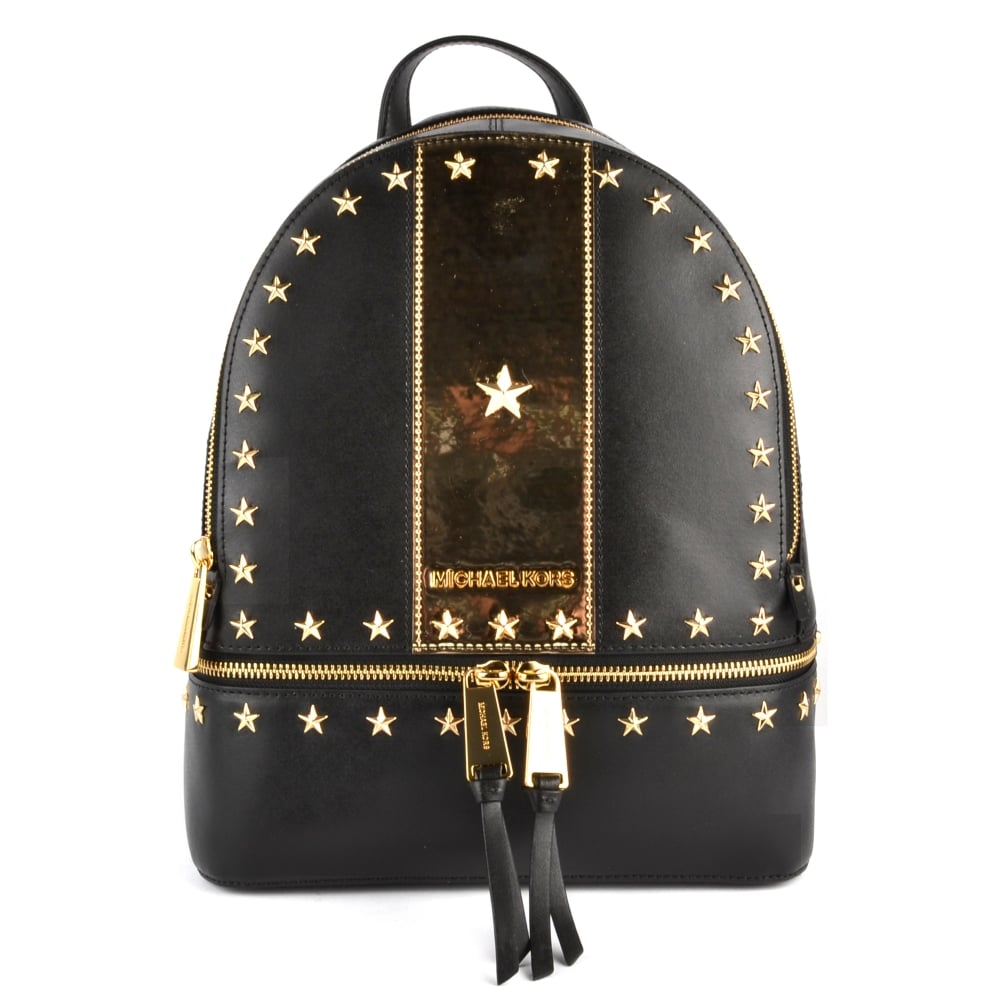 a163fa6abf04 MICHAEL by Michael Kors Rhea Zip Black and Gold Star Studded Backpack