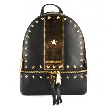 Rhea Zip Black and Gold Star Studded Backpack