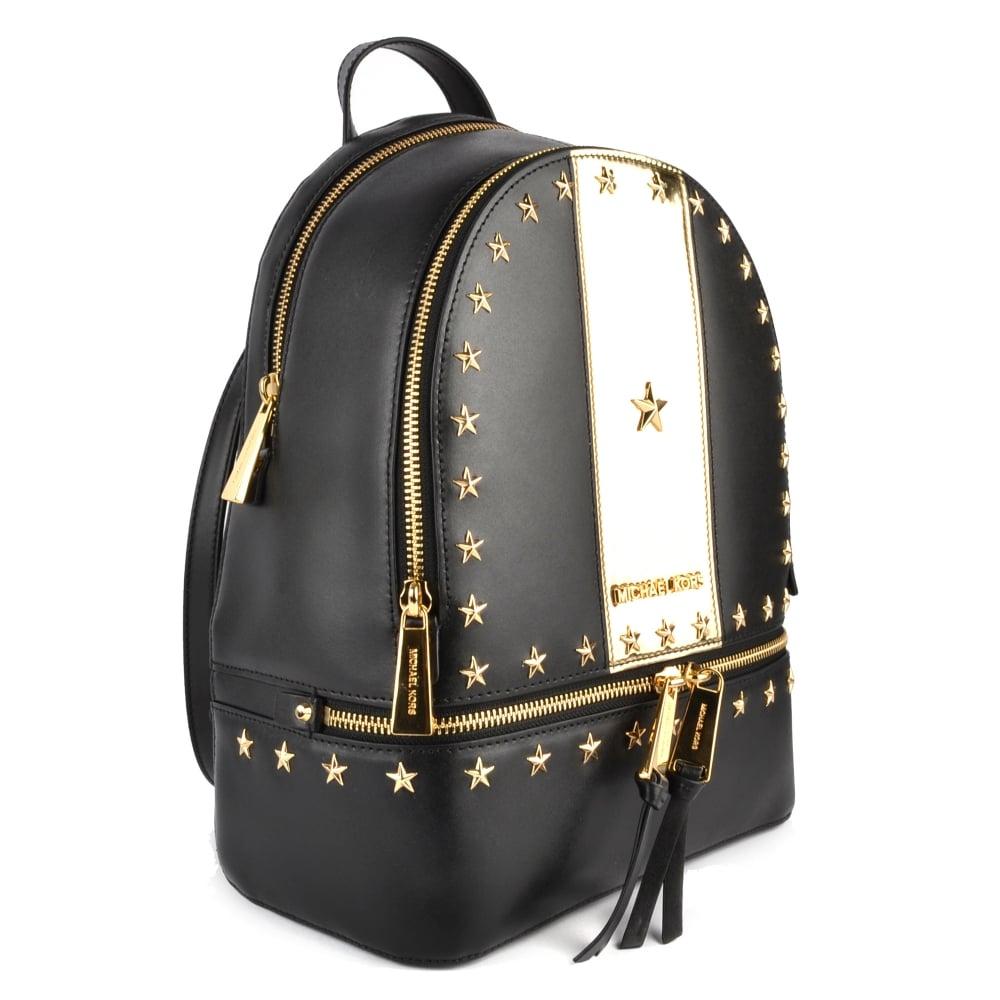 175c6128f290 MICHAEL MICHAEL KORS Rhea Zip Black and Gold Star Studded Backpack