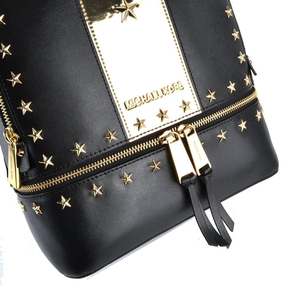 a1678d36311d MICHAEL MICHAEL KORS Rhea Zip Black and Gold Star Studded Backpack