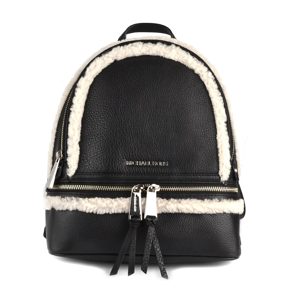 6ba3697431c8 MICHAEL by Michael Kors Rhea Zip Black and Natural Medium Backpack