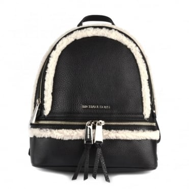 Rhea Zip Black and Natural Medium Backpack