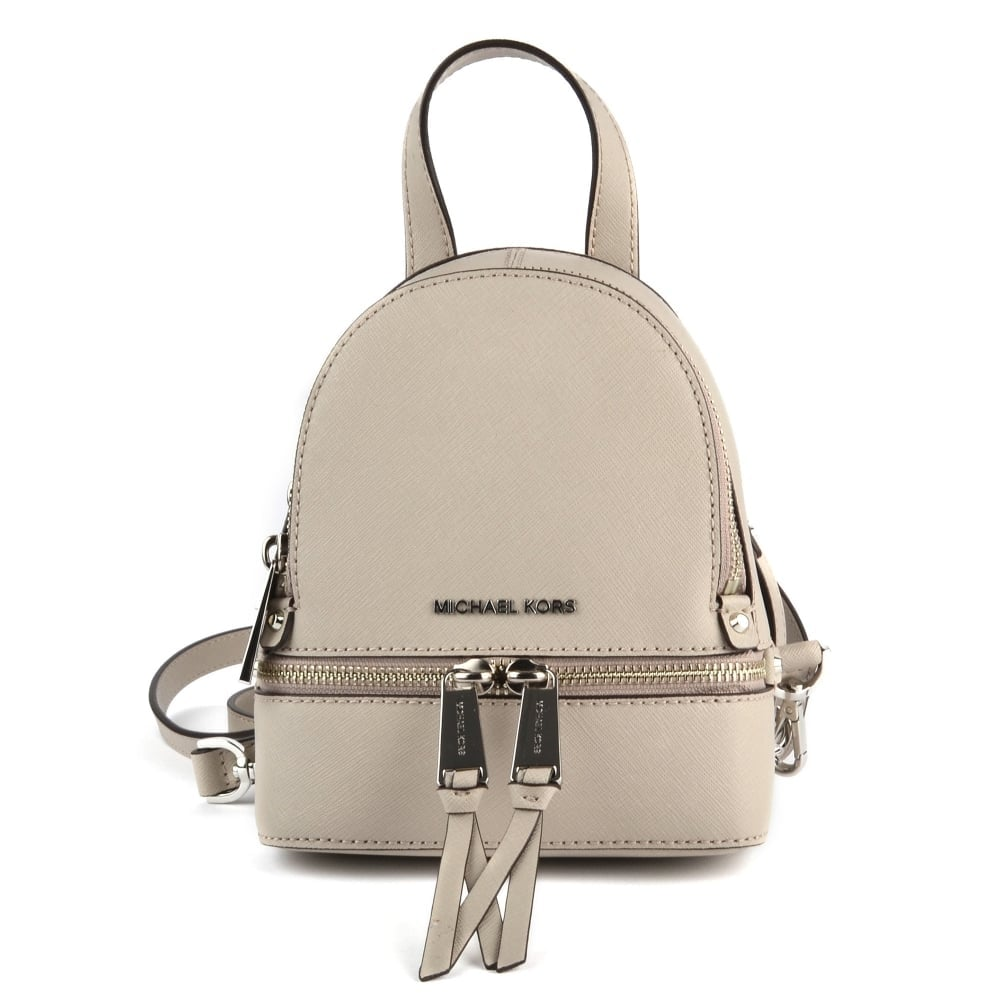98f08e01dbfa8e MICHAEL by Michael Kors Rhea Zip Cement Extra Small Messenger Back pack