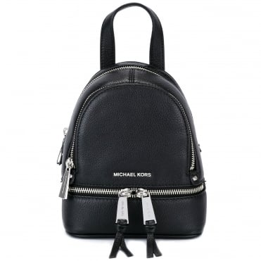 Rhea Zip Extra Small Black Messenger Backpack