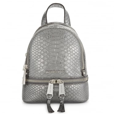 Rhea Zip Extra Small Pewter Python Embossed Leather Backpack