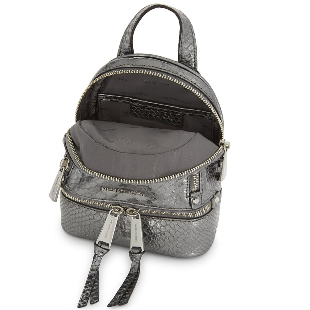 ee8f50f7499d9d MICHAEL MICHAEL KORS Rhea Zip Extra Small Pewter Python Embossed ...