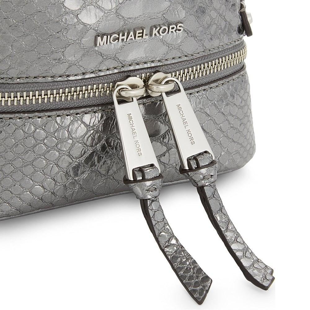 4516b5b78d9f MICHAEL MICHAEL KORS Rhea Zip Extra Small Pewter Python Embossed ...