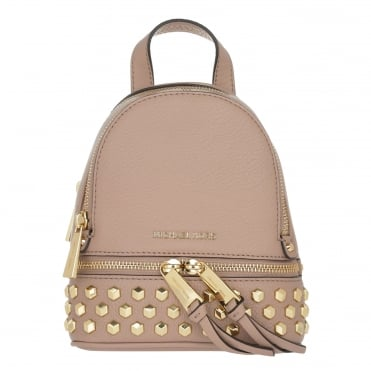 Rhea Zip Fawn Extra Small Leather Crossbody Backpack