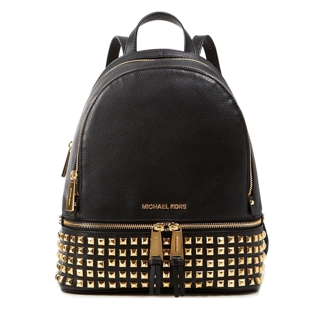 ff5e8041e5ec MICHAEL by Michael Kors Rhea Zip Medium Studded Black Backpack