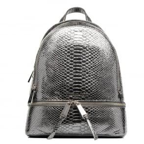 1478fd60b3c5 ... discount rhea zip metallic pewter embossed python backpack. michael by michael  kors 5ad1c f8589