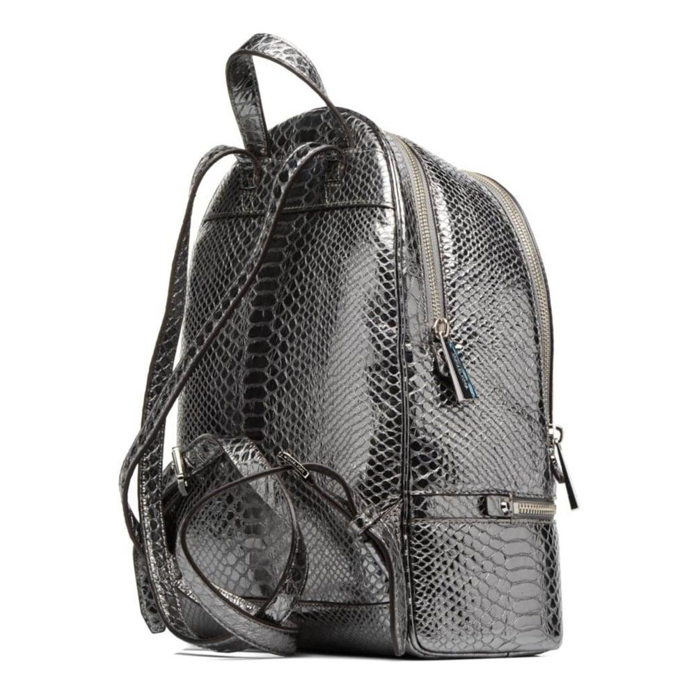 0f73ec1a925d MICHAEL MICHAEL KORS Rhea Zip Metallic Pewter Embossed Python Backpack