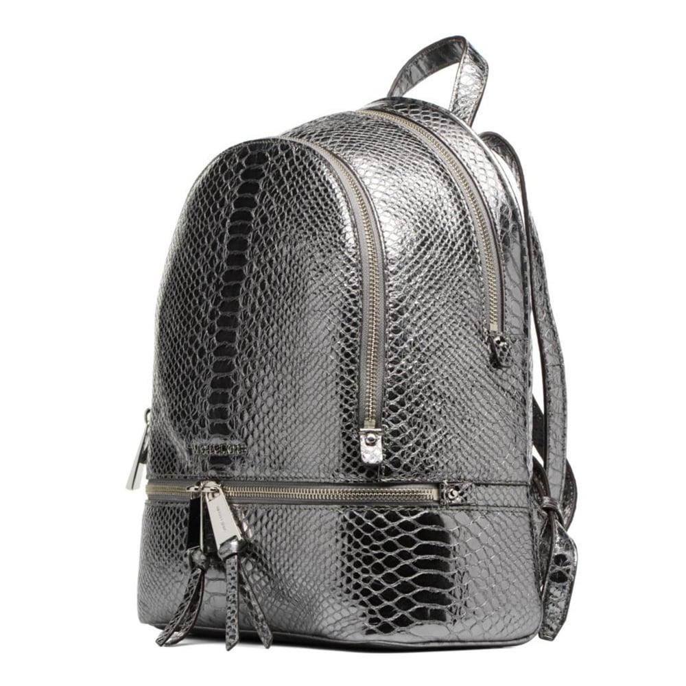 2c97c9c4621b MICHAEL MICHAEL KORS Rhea Zip Metallic Pewter Embossed Python Backpack