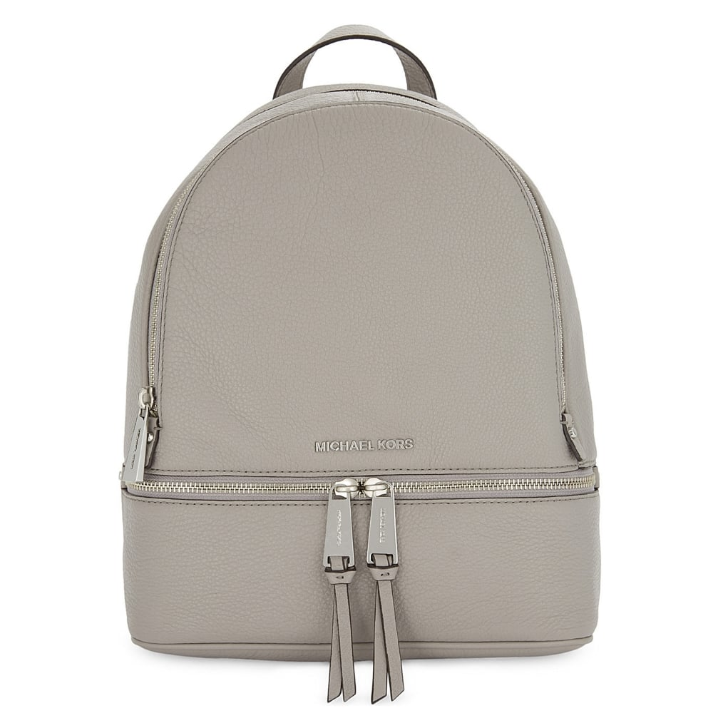 3337c2d2bdc1 MICHAEL by Michael Kors Rhea Zip Pearl Grey Leather Backpack