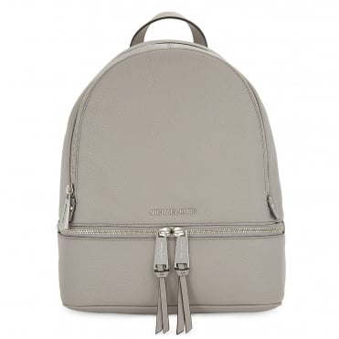 Rhea Zip Pearl Grey Leather Backpack