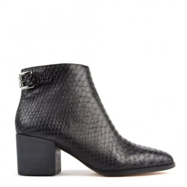 Saylor Black Python Embossed Ankle Boot