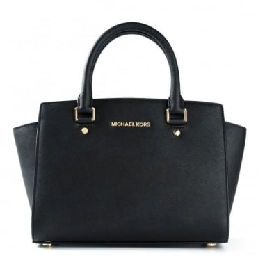 Selma Black Medium Saffiano Satchel