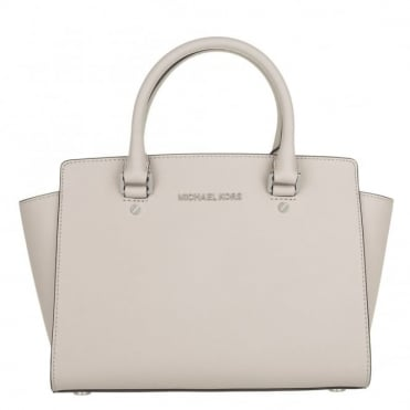 Selma Cement Medium Saffiano Satchel