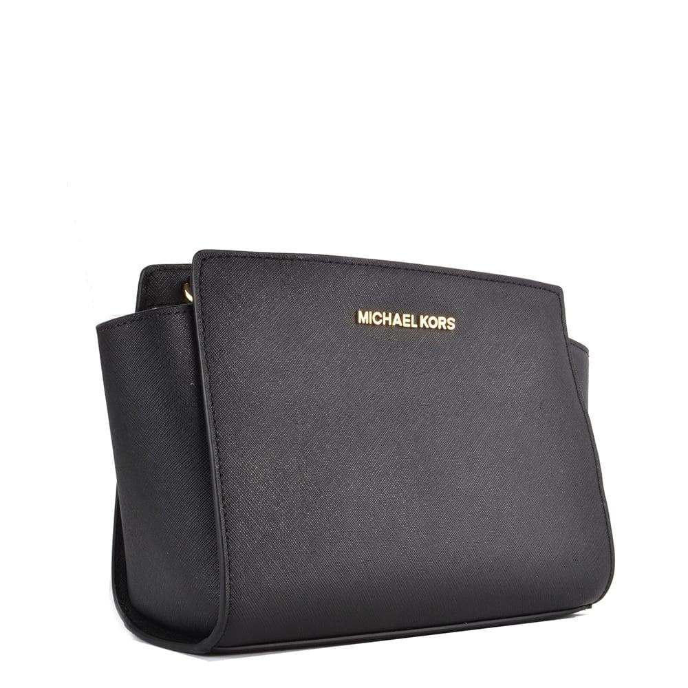 77c5f7d12909 MICHAEL Michael Kors Selma Medium Black Leather Messenger Bag