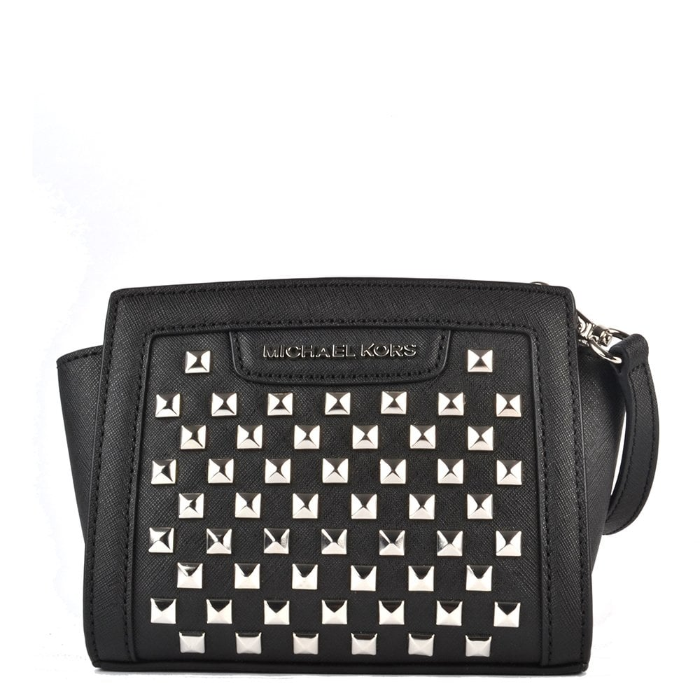 1b3e5a29657c MICHAEL by Michael Kors Selma Mini Black Pyramid Stud Messenger ...
