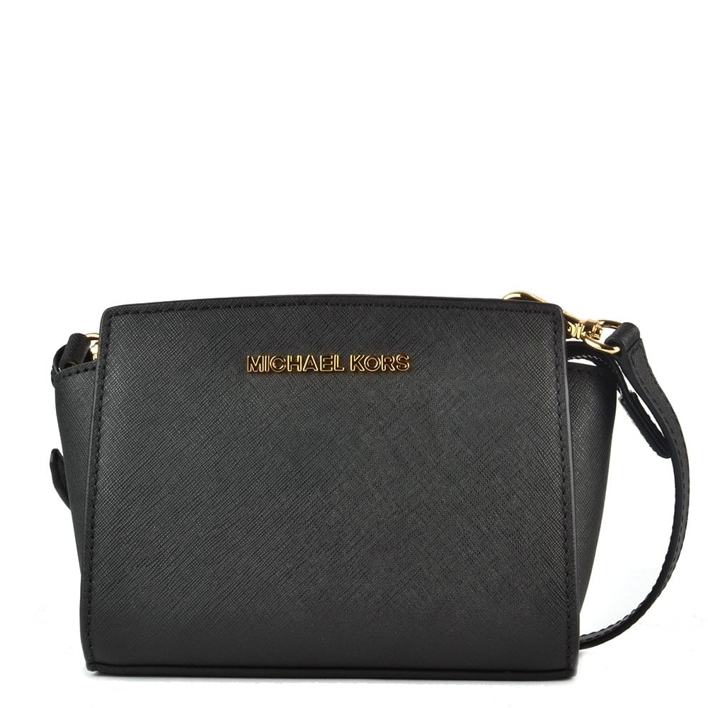 ba06c743a0 MICHAEL by Michael Kors Selma Mini Black Saffiano Messenger Bag ...