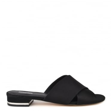 Shelly Black Satin Flat Sandal