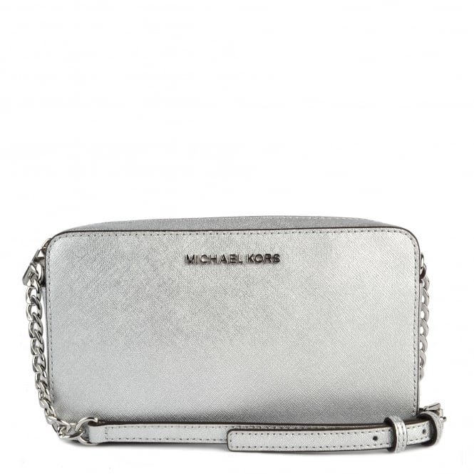 MICHAEL by Michael Kors Silver Medium Leather Crossbody Bag