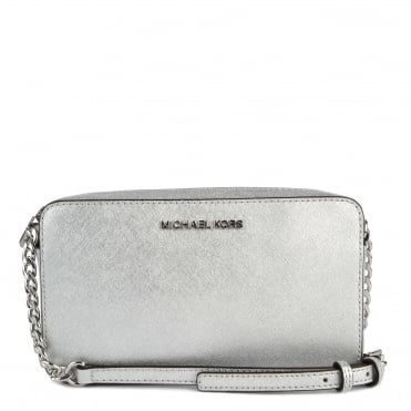 Silver Medium Leather Crossbody Bag