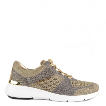 Skyler Metallic Pale Gold Knit Trainer