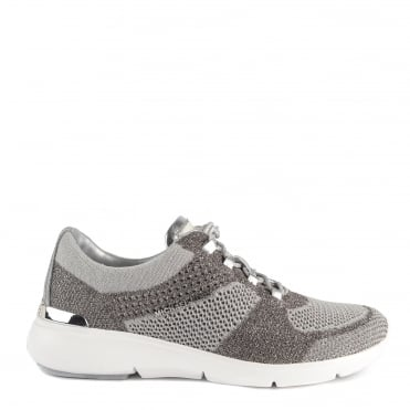 Skyler Metallic Silver Knit Trainer