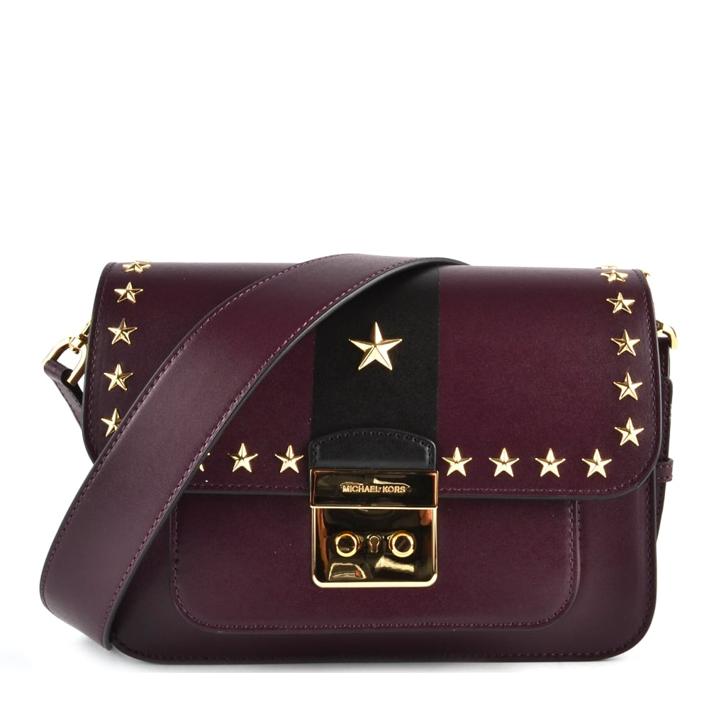MICHAEL MICHAEL KORS Sloan Editor Damson Studded Leather Shoulder Bag - Free invoice online michael kors outlet online store
