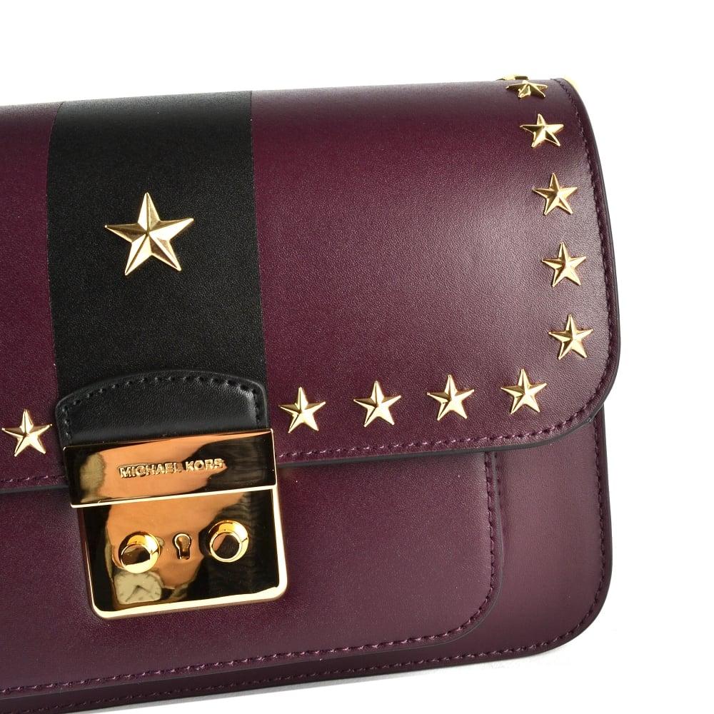 7ab25bbadf0aa MICHAEL MICHAEL KORS Sloan Editor Damson Studded Leather Shoulder Bag