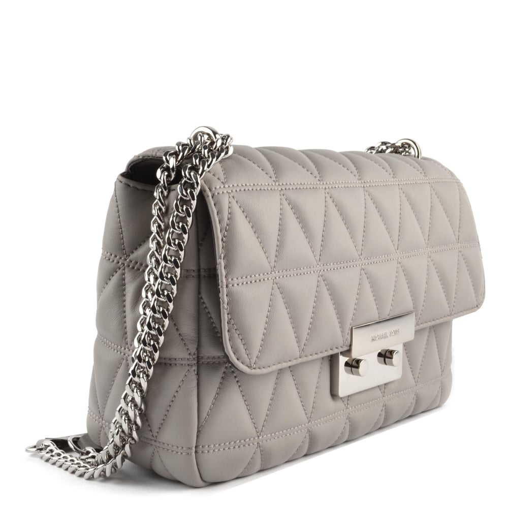 Sloan Pearl Grey Large Quilted Shoulder Bag