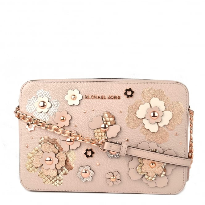 MICHAEL by Michael Kors Soft Pink Floral Applique Large East West Crossbody