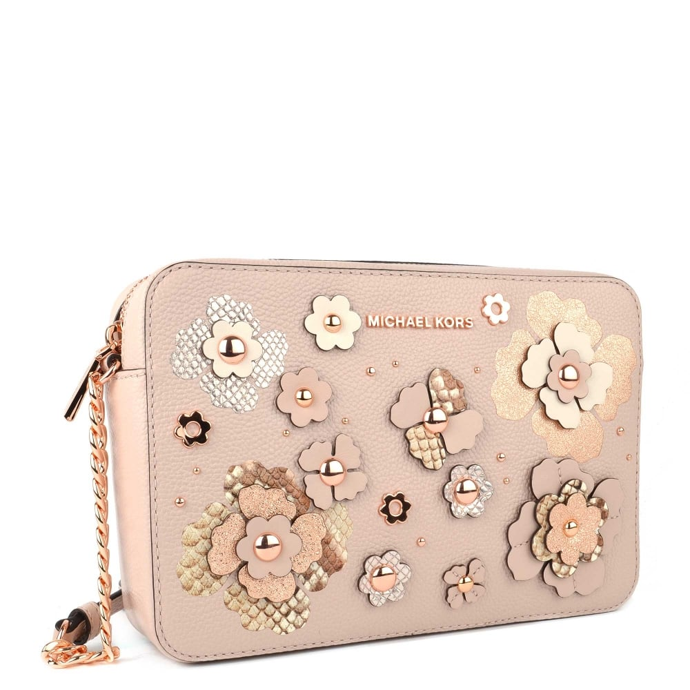 5e438f3801af MICHAEL MICHAEL KORS Soft Pink Floral Applique Large East West Crossbody