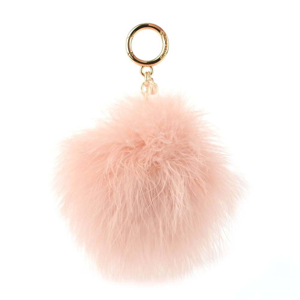 MICHAEL by Michael Kors Soft Pink Large Round Feather Pom Pom Keyring Charm d1a4dd4e2ee8