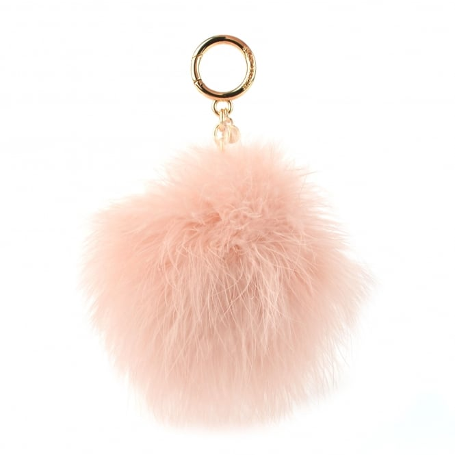 MICHAEL by Michael Kors Soft Pink Large Round Feather Pom Pom Keyring Charm