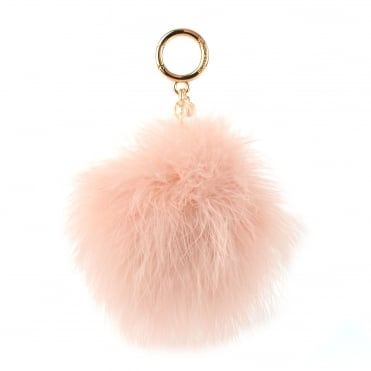 Soft Pink Large Round Feather Pom Pom Keyring Charm