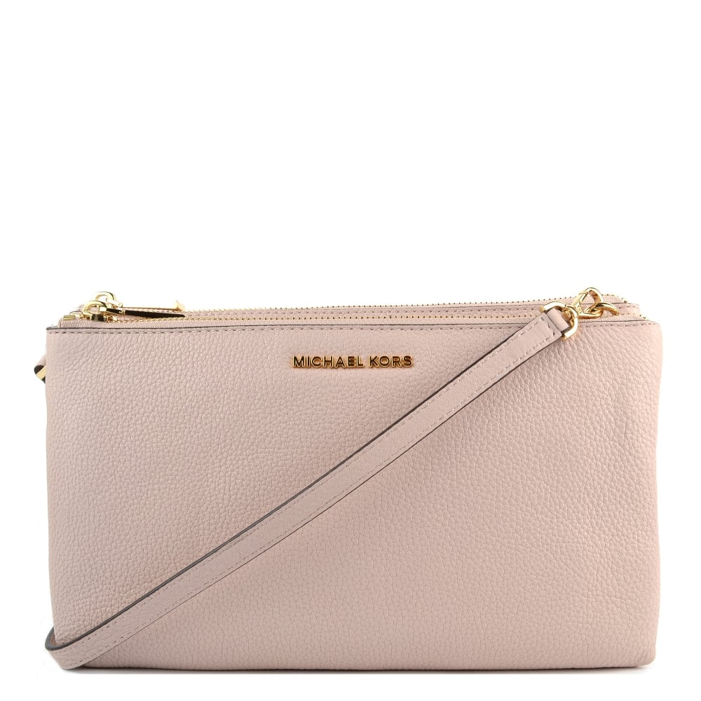 MICHAEL by Michael Kors Soft Pink Leather Double Zip Crossbody Bag