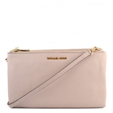 Soft Pink Leather Double Zip Crossbody Bag