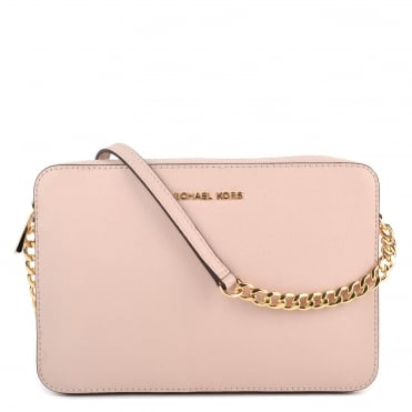 Soft Pink Saffiano Leather Large Crossbody