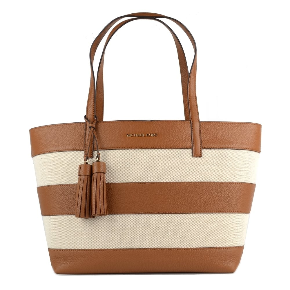 c2ec6f83ccce MICHAEL by Michael Kors Stripe Nat/Acorn Canvas Tote