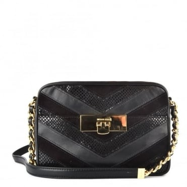 Susannah Black Medium Messenger Bag