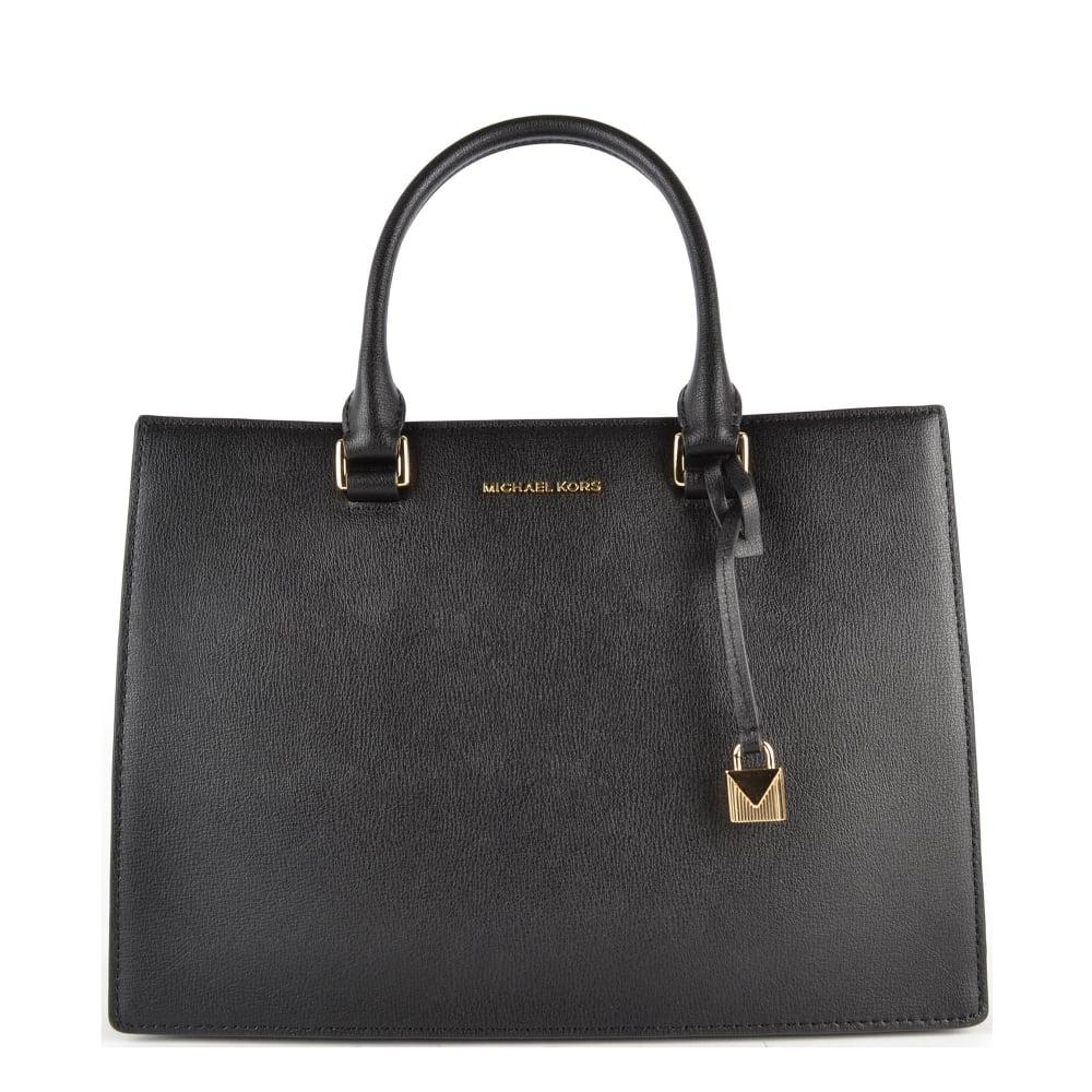 b898429c1e876 MICHAEL by Michael Kors Sutton Black Leather Gusset Satchel