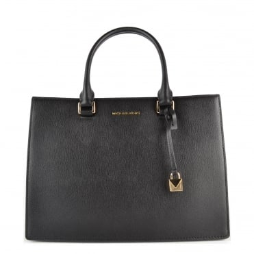 Sutton Black Leather Gusset Satchel