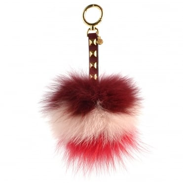 Tri-Colour Pom Pom Fur Large Keyring Charm